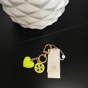 NWT Tory Burch fluorescent yellow keychain